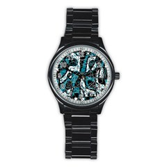 Blue, Black And White Abstract Art Stainless Steel Round Watch by Valentinaart