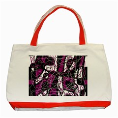 Purple, White, Black Abstract Art Classic Tote Bag (red) by Valentinaart