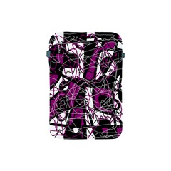 Purple, white, black abstract art Apple iPad Mini Protective Soft Cases by Valentinaart
