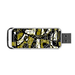 Brown Abstract Art Portable Usb Flash (two Sides) by Valentinaart