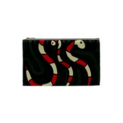 Red Snakes Cosmetic Bag (small)  by Valentinaart