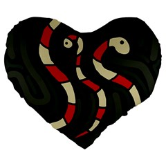Red snakes Large 19  Premium Flano Heart Shape Cushions by Valentinaart