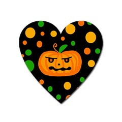 Halloween Pumpkin Heart Magnet by Valentinaart