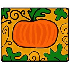 Thanksgiving Pumpkin Double Sided Fleece Blanket (medium)  by Valentinaart