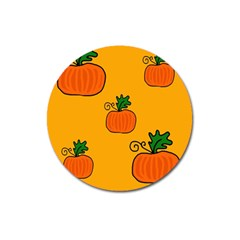 Thanksgiving Pumpkins Pattern Magnet 3  (round) by Valentinaart