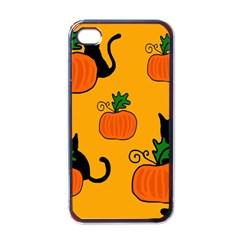 Halloween Pumpkins And Cats Apple Iphone 4 Case (black) by Valentinaart