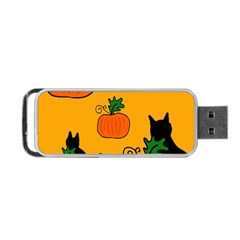 Halloween Pumpkins And Cats Portable Usb Flash (two Sides) by Valentinaart