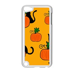 Halloween Pumpkins And Cats Apple Ipod Touch 5 Case (white) by Valentinaart