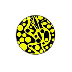 Black and Yellow abstract desing Hat Clip Ball Marker (10 pack) by Valentinaart