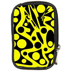 Black And Yellow Abstract Desing Compact Camera Cases by Valentinaart