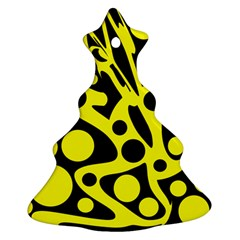 Black And Yellow Abstract Desing Christmas Tree Ornament (2 Sides) by Valentinaart