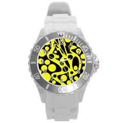 Black And Yellow Abstract Desing Round Plastic Sport Watch (l) by Valentinaart