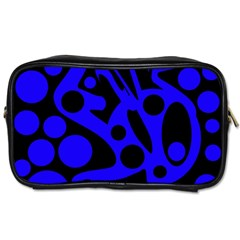 Blue And Black Abstract Decor Toiletries Bags by Valentinaart