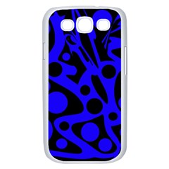 Blue and black abstract decor Samsung Galaxy S III Case (White)