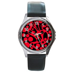 Red And Black Abstract Decor Round Metal Watch by Valentinaart