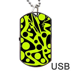 Green And Black Abstract Art Dog Tag Usb Flash (one Side) by Valentinaart