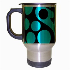 Cyan And Black Abstract Decor Travel Mug (silver Gray) by Valentinaart