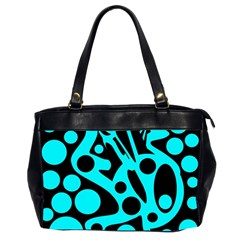 Cyan And Black Abstract Decor Office Handbags (2 Sides)  by Valentinaart