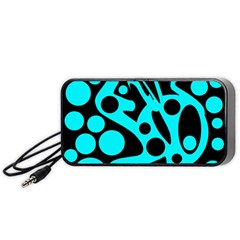 Cyan And Black Abstract Decor Portable Speaker (black)  by Valentinaart