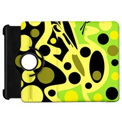 Green abstract art Kindle Fire HD Flip 360 Case by Valentinaart
