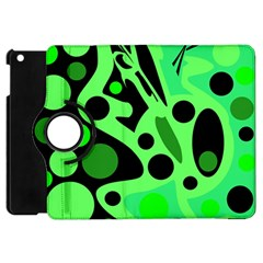Green Abstract Decor Apple Ipad Mini Flip 360 Case by Valentinaart