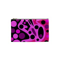 Pink Abstract Decor Cosmetic Bag (small)  by Valentinaart