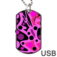 Pink Abstract Decor Dog Tag Usb Flash (two Sides)  by Valentinaart
