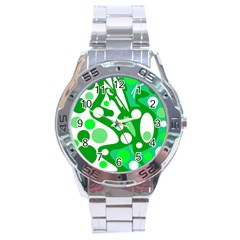 White And Green Decor Stainless Steel Analogue Watch by Valentinaart