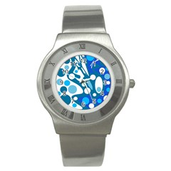Blue And White Decor Stainless Steel Watch by Valentinaart