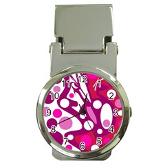 Magenta And White Decor Money Clip Watches by Valentinaart