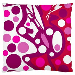 Magenta And White Decor Large Flano Cushion Case (one Side) by Valentinaart