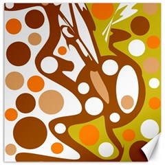 Orange And White Decor Canvas 20  X 20   by Valentinaart