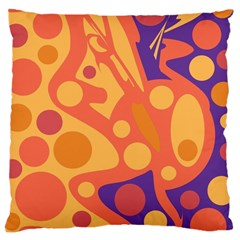 Orange and blue decor Large Cushion Case (Two Sides) by Valentinaart