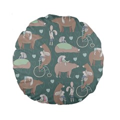 Bear Ruding Unicycle Unique Pop Art All Over Print Standard 15  Premium Round Cushions by CraftyLittleNodes