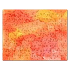 Watercolor Yellow Fall Autumn Real Paint Texture Artists Rectangular Jigsaw Puzzl by CraftyLittleNodes