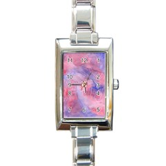 Galaxy Cotton Candy Pink And Blue Watercolor  Rectangle Italian Charm Watch by CraftyLittleNodes