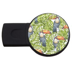 Tropical Print Leaves Birds Toucans Toucan Large Print USB Flash Drive Round (4 GB)  by CraftyLittleNodes