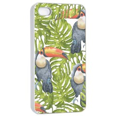 Tropical Print Leaves Birds Toucans Toucan Large Print Apple Iphone 4/4s Seamless Case (white) by CraftyLittleNodes