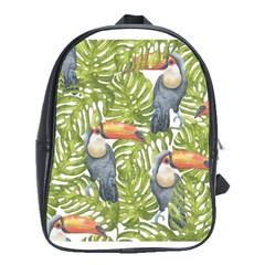Tropical Print Leaves Birds Toucans Toucan Large Print School Bags (xl)  by CraftyLittleNodes