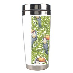 Tropical Print Leaves Birds Toucans Toucan Large Print Stainless Steel Travel Tumblers by CraftyLittleNodes
