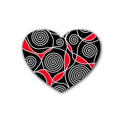 Hypnotic Design Rubber Coaster (heart)  by Valentinaart