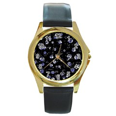 Blue soul Round Gold Metal Watch