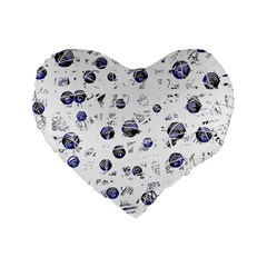 White And Deep Blue Soul Standard 16  Premium Flano Heart Shape Cushions by Valentinaart