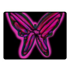 Purple neon butterfly Fleece Blanket (Small) by Valentinaart