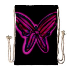 Purple Neon Butterfly Drawstring Bag (large) by Valentinaart