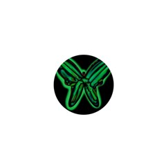 Green neon butterfly 1  Mini Magnets by Valentinaart