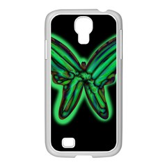Green neon butterfly Samsung GALAXY S4 I9500/ I9505 Case (White)