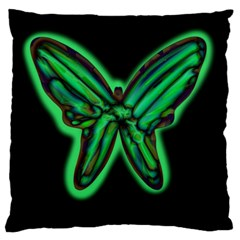 Green Neon Butterfly Large Flano Cushion Case (one Side) by Valentinaart