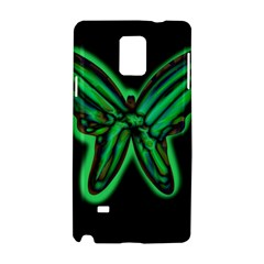 Green Neon Butterfly Samsung Galaxy Note 4 Hardshell Case by Valentinaart