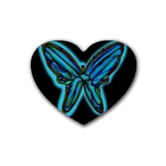 Blue Butterfly Rubber Coaster (heart)  by Valentinaart